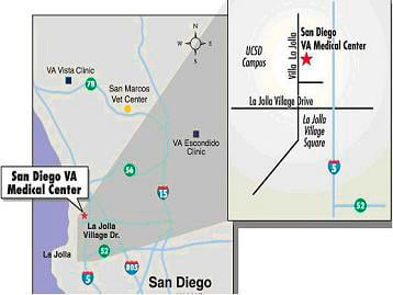 map driving directions to San Diego VA Medical Center
